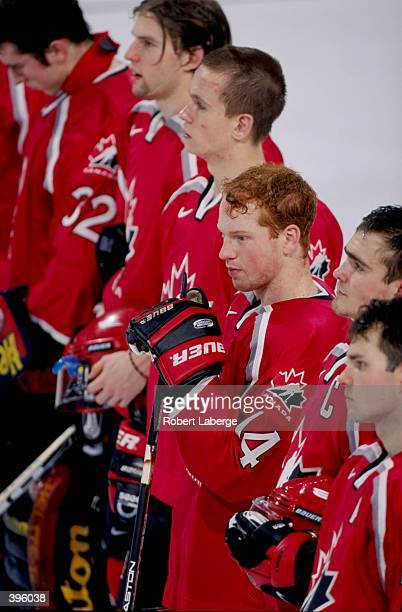 Brian Campbell of Team Canada standing with his teammates before the World Junior Hockey Championships Game against Team Kazakhstan at the Keystone...