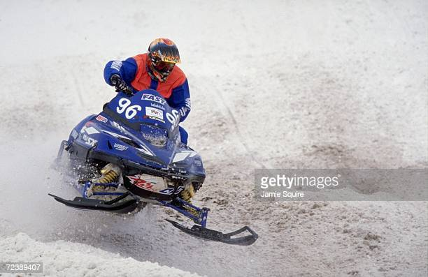Carl Schubitzke in action during the Snow Cross Pro 600 at the World Championship Snowmobile Derby in Eagle River Wisconsin Mandatory Credit Jamie...
