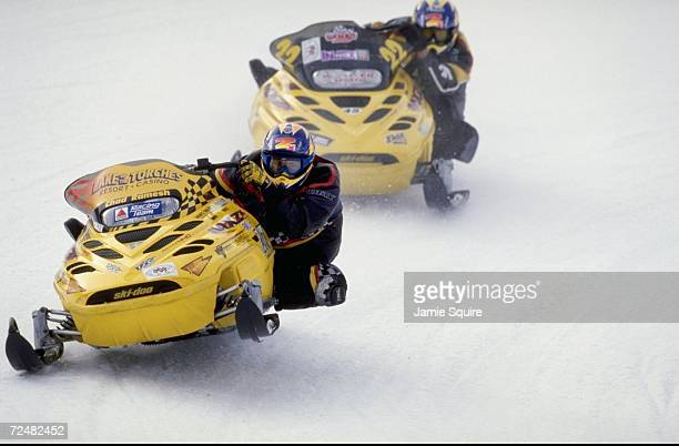 Chad Ramesh in action during the Pro Stock at the World Championship Snowmobile Derby in Eagle River Wisconsin Mandatory Credit Jamie Squire /Allsport