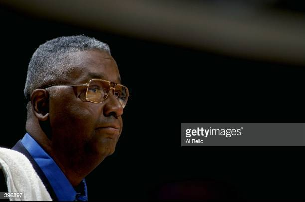 Coach John Thompson of the Georgetown Hoyas in action during the game against the Seton Hall Pirates at the Continental Airlines Arena in East...