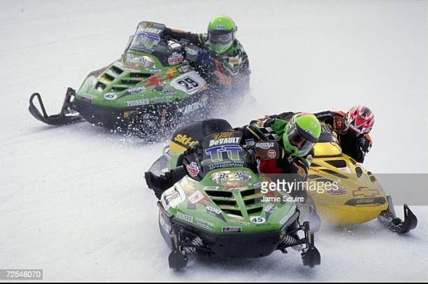 Dan Devault in action during the Pro Stock Final race at the World Championship Snowmobile Derby in Eagle River Wisconsin Mandatory Credit Jamie...