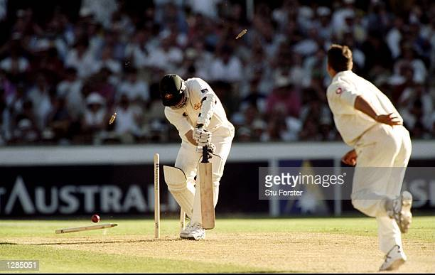 Darren Gough of England takes the wicket of Stuart MacGill of Australia during the 5th Ashes test at the Sydney Cricket Ground in Sydney Australia...
