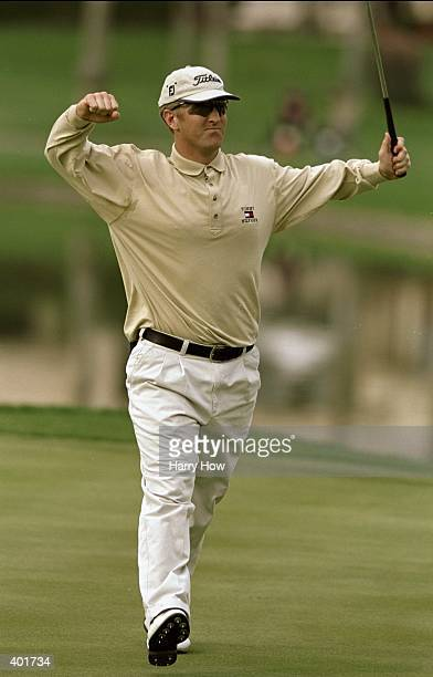 David Duval celebrates after a 59 score during the Bob Hope Chrysler Classic at the PGA West Palmer Country Club in La Quinta California Mandatory...