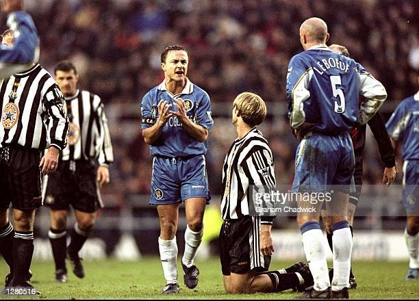 Dennis Wise of Chelsea brings down Andreas Andersson of Newcastle United in the FA Carling Premiership match at St James Park in Newcastle England...