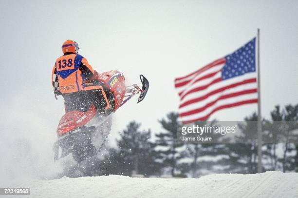 Finalist Cory Wunderlich in action during the Snow Cross Sport Open at the World Championship Snowmobile Derby in Eagle River Wisconsin Mandatory...