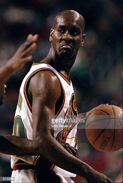 Gary Payton of the Seattle SuperSonics in action during the game against the Vancouver Grizzles at the Key Arena in Seattle Washington The Sonics...