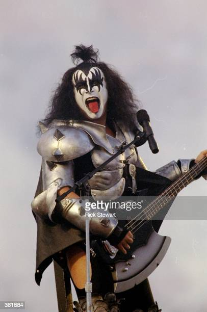 Gene Simmons of KISS performing during the pregame special of the Super Bowl XXXIII Game between the Denver Broncos and the Atlanta Falcons at the...