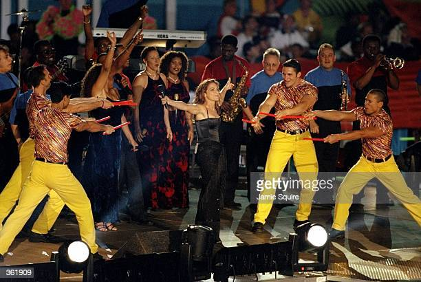 Gloria Estefan performing during the half time special of the Super Bowl XXXIII Game between the Denver Broncos and the Atlanta Falcons at the Pro...