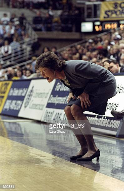 Head Coach Pat Summitt of the Tennessee Lady Volunteers yells during the game against the UConn Huskies at the Harry A Campel Pavillion in Storrs...