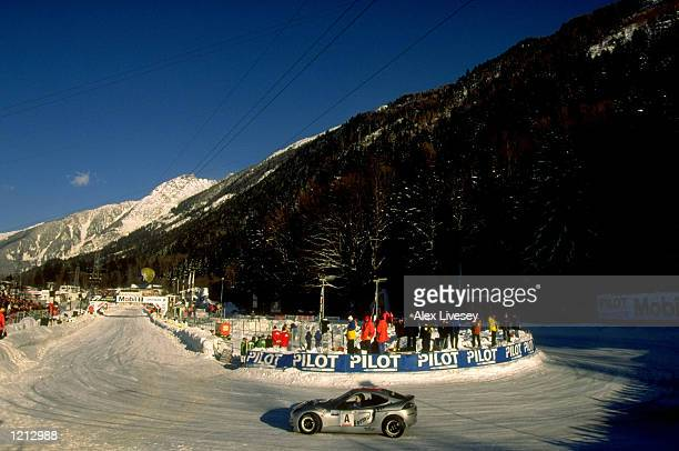 Ice racing at the 24 Heures Sur Glace in Chamonix France Mandatory Credit Alex Livesey /Allsport
