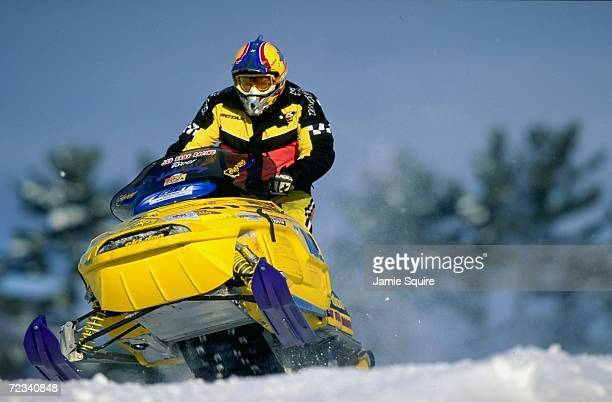 Jack Jay in action during the Snow Cross race at the World Championship Snowmobile Derby in Eagle River Wisconsin Mandatory Credit Jamie Squire...