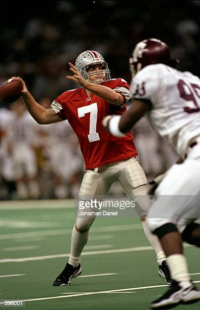 Joe Germaine of the Ohio State Buckeyes throws the ball during the Sugar Bowl against the Texas AM Aggies at the Superdome in New Orlean Louisiana...