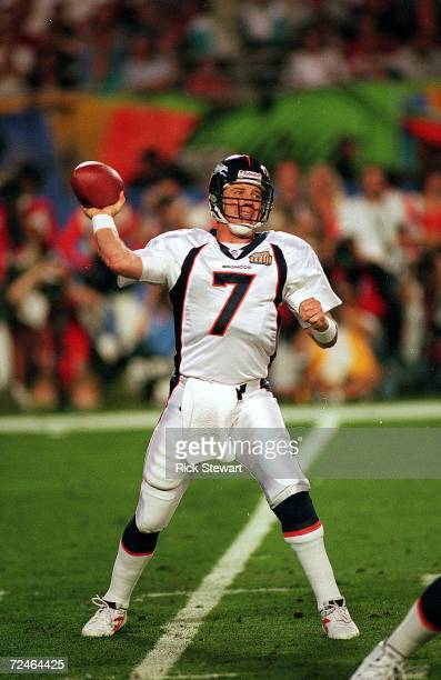 John Elway of the Denver Broncos passes the ball during Superbowl XXXIII against the Atlanta Falcons at the Pro Player Stadium in Miami Florida The...