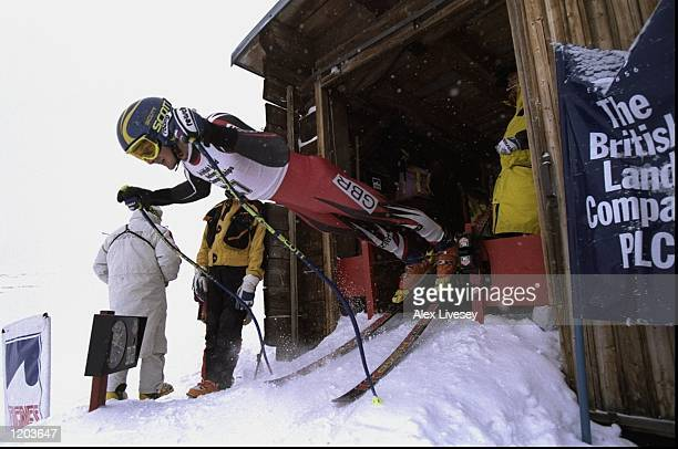 John MoulderBrown of Great Britain starts the Mens Downhill event at the British Land National Ski Championships in Tignes France Mandatory Credit...