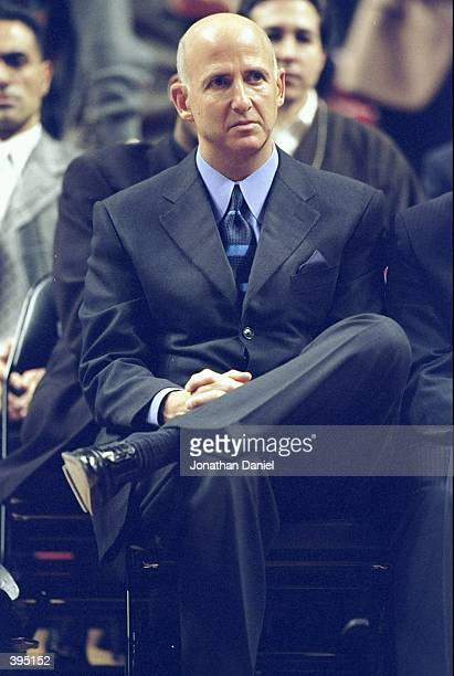 Jordans Agent David Falk sitting in the audience giving Jodan support during a press conference to anounce Michael Jordans retirement at the United...
