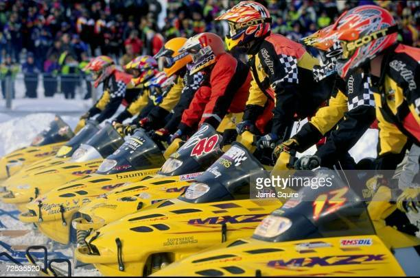 Kent Ipson gets ready at the start during the Snow Cross Semi Pro 600 race at the World Championship Snowmobile Derby in Eagle River Wisconsin...