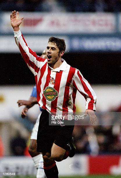 Kevin Phillips of Sunderland celebrates his goal against Queens Park Rangers in the Nationwide Division One match at Loftus Road in London The game...
