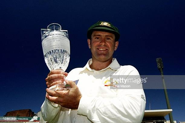 Mark Taylor the Australian Captain with the Ashes trophy after Australia beat England in the 5th test to win the series at the Sydney Cricket Ground...