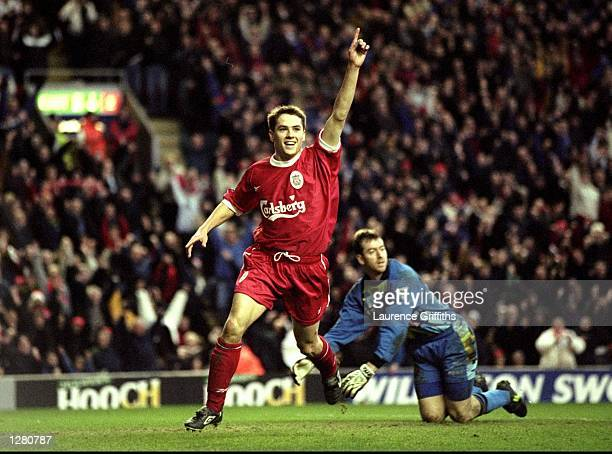 Michael Owen of Liverpool celebrates a goal during the FA Carling Premiership match against Southampton at Anfield in Liverpool, England. Liverpool...