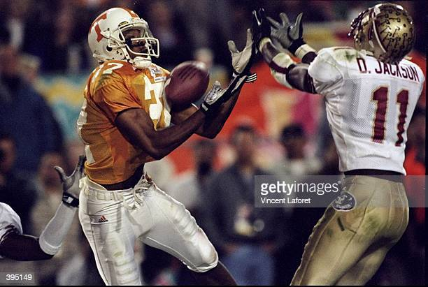 Peerless Price of the Tennesse Volunteers makes interception during the Fiesta Bowl Game against the Florida State Seminoles at the Sun Devil Stadium...
