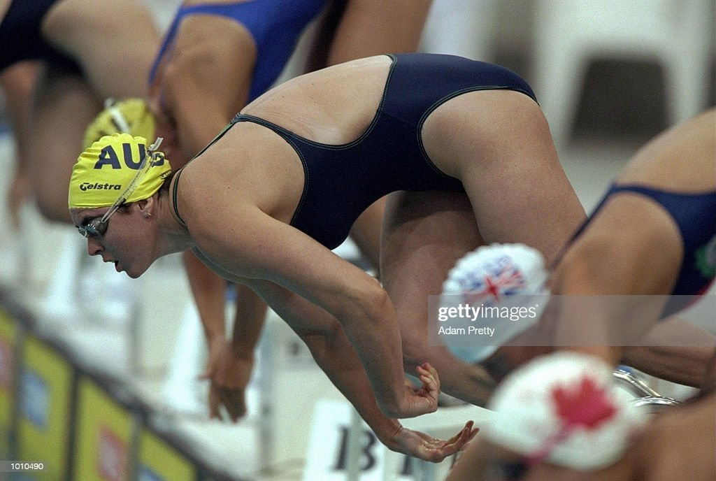 Petria Thomas of Australia leaps off the blocks at the start of the Womens 200m Butterfly during the 1999 FINA World Cup at the Sydney International Aquatic Centre, Homebush, Sydney, Australia. \ Mandatory Credit: Adam Pretty /Allsport