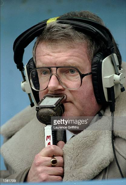 Portrait of BBC Commentator John Motson at the FA Cup fourth round match between Portsmouth and Leeds United in Portsmouth England Leeds won the game...