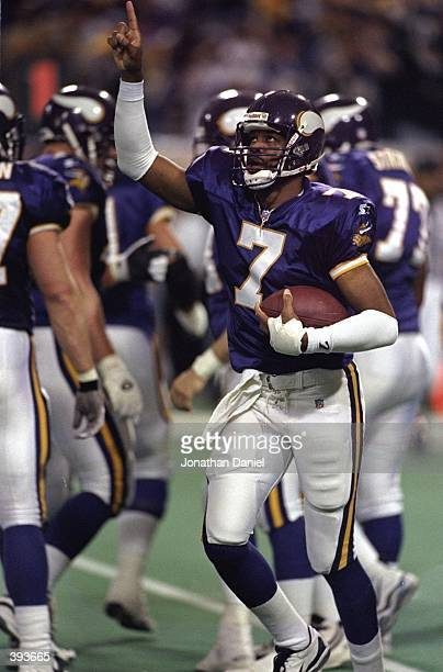 Quarterback Randall Cunningham of the Minnesota Vikings in action during the NFC Championship Game against the Atlanta Falcons at the H. H. H....