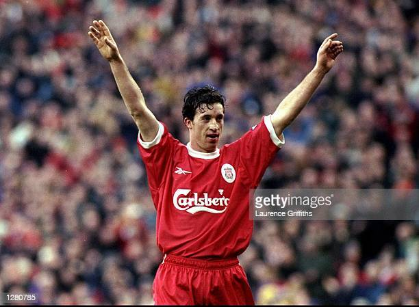 Robbie Fowler of Liverpool celebrates a goal during the FA Carling Premiership match against Southampton at Anfield in Liverpool England Liverpool...