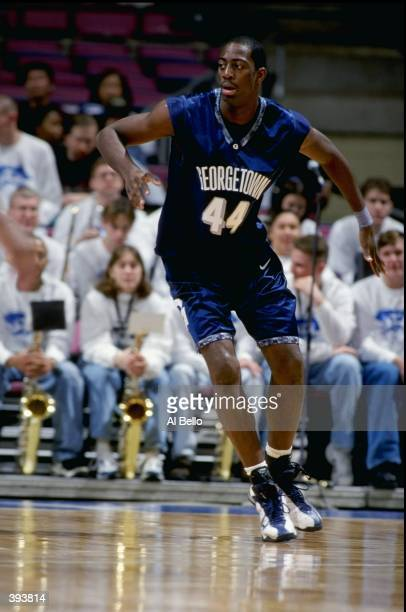 Ruben Boumtje of the Georgetown Hoyas in action during the game against the Seton Hall Pirates at the Continental Airlines Arena in East Rutherford,...