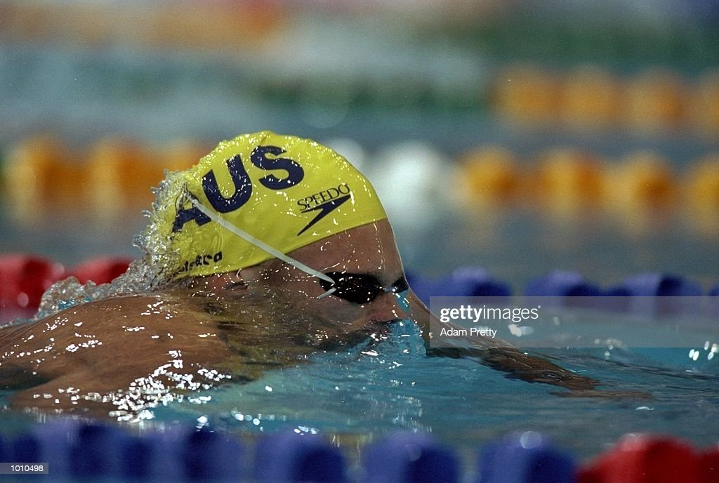 Ryan Mitchell of Australia in action during the Mens 100m Breastroke from the 1999 FINA World Cup at the Sydney International Aquatic Centre, Homebush, Sydney, Australia. \ Mandatory Credit: Adam Pretty /Allsport
