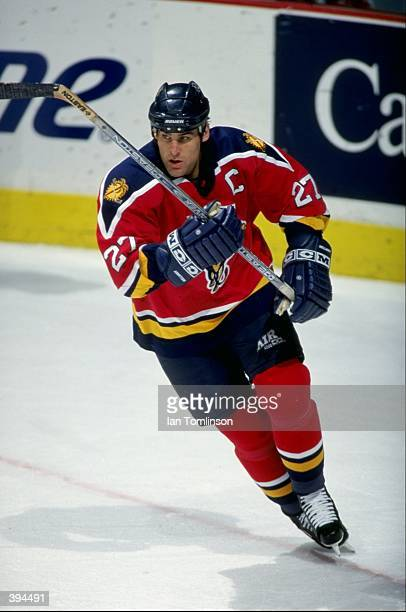 Scott Mellanby of the Florida Panthers in action during the game against the Calgary Flames at the Canadian Airlines Saddledome in Calgary Alberta...