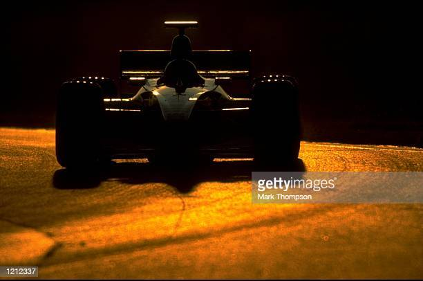 Silhouette taken during Formula 1 winter testing in Barcelona Spain Mandatory Credit Mark Thompson /Allsport