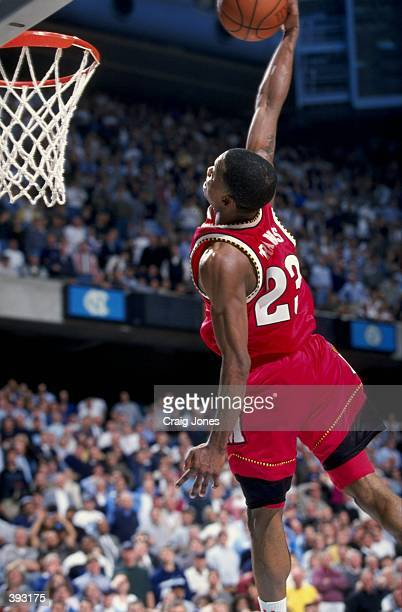 Steve Francis of the Maryland Terrapins slap dunks during the game against the North Carolina Tar Heels at the Dean Smith Center in Chapel Hill North...