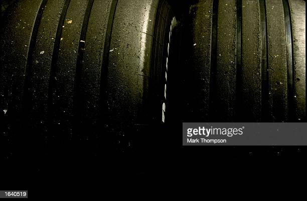 The 1999 specification 4 grooved tyres during Formula One winter testing at the Circuit de Catalunya in Barcelona Spain Mandatory Credit Mark...