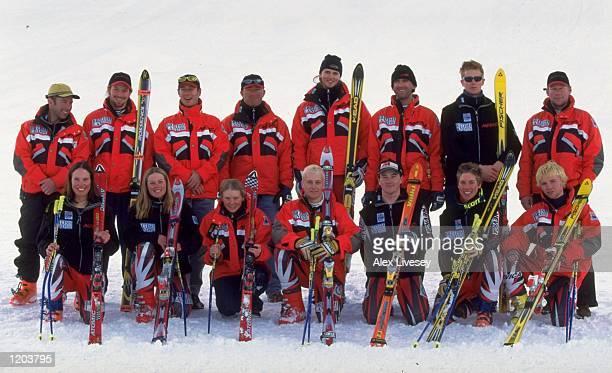 The British ski team line up at the British Land National Ski Championships in Tignes, France. \ Mandatory Credit: Alex Livesey /Allsport