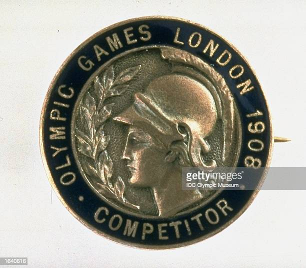The commemorative pin from the 1908 London Olympic Games on display at the IOC Olympic Museum in Lausanne, Switzerland. \ Mandatory Credit: IOC Olympic Museum /Allsport