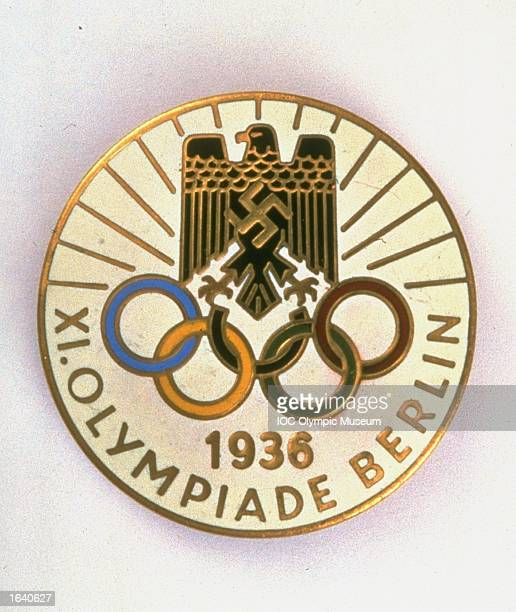 The commemorative pin from the 1936 Berlin Olympic Games on display at the IOC Olympic Museum in Lausanne, Switzerland. \ Mandatory Credit: IOC Olympic Museum /Allsport