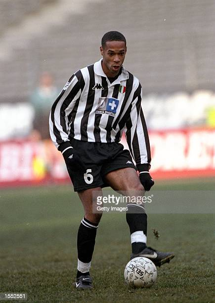 Thierry Henry of Juventus on the ball against Perugia in the Serie A match at the Stadio Delle Alpi in Turin Italy Pic Claudio Villa Mandatory Credit...