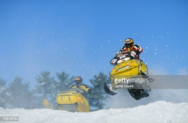 Troy Schaden in action during the Snow Cross Pro 600 at the World Championship Snowmobile Derby in Eagle River Wisconsin Mandatory Credit Jamie...
