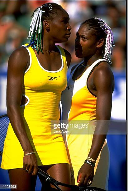 Venus and Serena Williams in action during the Australian Open at Melbourne Park in Australia. \ Mandatory Credit: Jack Atley /Allsport