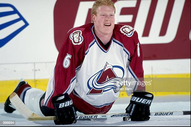 Wade Belak of the Colorado Avalanche stretches during the game against the Florida Panthers at the McNichols Arena in Denver Colorado The Avalanche...