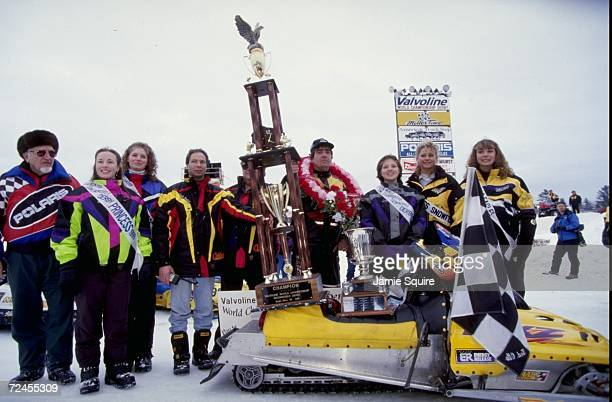 Winner Mike Houle poses with his trophy during the World Championship Snowmobile Derby in Eagle River Wisconsin Mandatory Credit Jamie Squire...