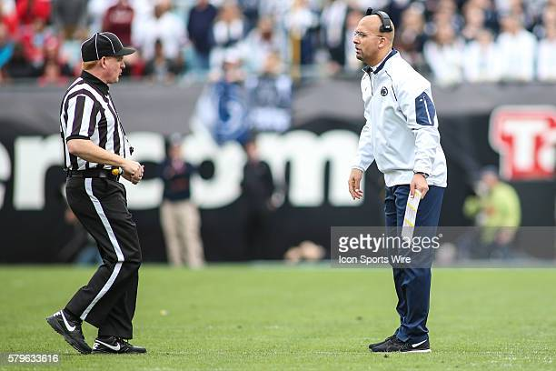 Penn State Nittany Lions head coach James Franklin argues with a referee during the TaxSlayer Bowl game between the Penn State Nittany Lions and the...