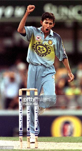 Ajit Agarkar of India celebrates trapping Ijaz Ahmed of Pakistan LBW for 13 during the Carlton and United One Day International between India and...
