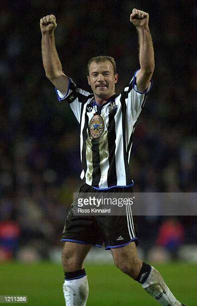 31 Jan 2000 Alan Shearer of Newcastle celebrates after scoring the second goal during the Blackburn Rovers v Newcastle United FA Cup 5th round cup...