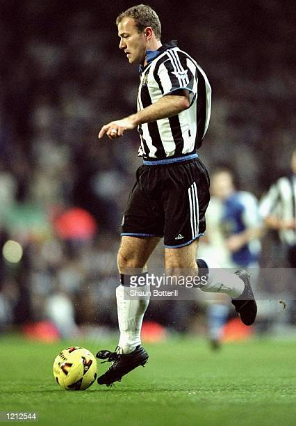 Alan Shearer of Newcastle United in action during the AXA sponsored FA Cup Fifth Round match against Blackburn Rovers played at Ewood Park in...