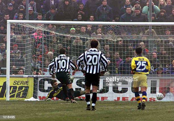 Alessandro Del Piero of Juventus opens the scoring from the penalty spot during the Serie A match between Parma v Juventus at the Ennio Tardini...
