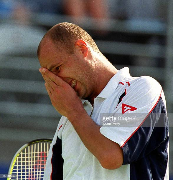 Andrei Medvedev of the Ukraine is dejected after loseing a point to Todd Martin of USA during the Adidas International at the Homebush international...