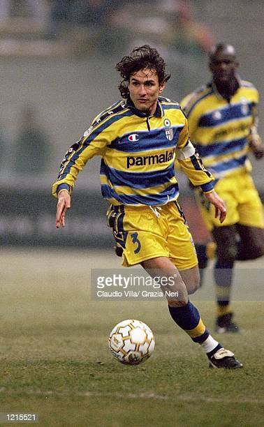 Antonio Benarrivo of Parma in action during the Italian Serie A match against Perugia played at the Stadio Tardini in Parma Italy Perugia won the...