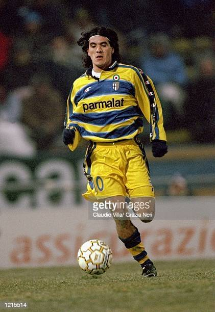 Ariel Ortega of Parma in action during the Italian Serie A match against Perugia played at the Stadio Tardini in Parma Italy Perugia won the game 21...